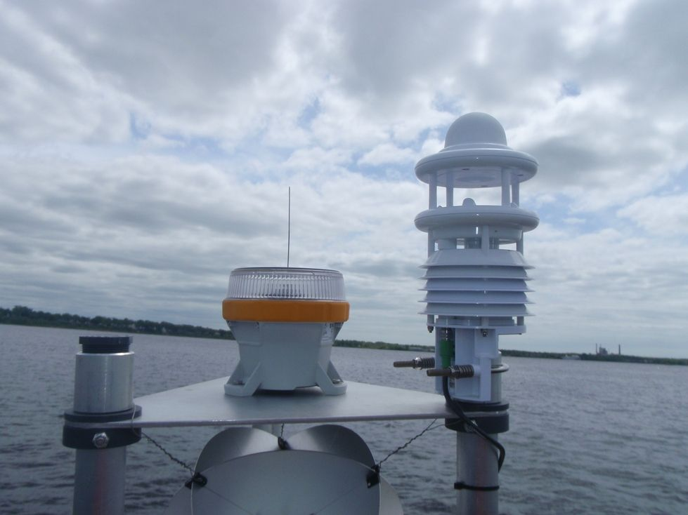 Top of Muskegon Lake Observatory Buoy with Lufft meteorological sensor and navigation light